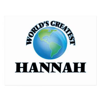 Hannah más grande del mundo tarjeta postal