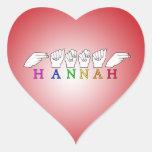 HANNAH NAME ASL FINGERSPELLED SIGN HEART STICKER