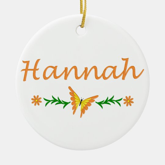 Hannah (Orange Butterfly) Ceramic Ornament