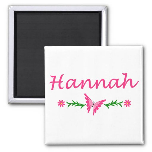 Hannah (Pink Butterfly) 2 Inch Square Magnet