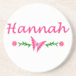 Hannah (Pink Butterfly) Drink Coasters