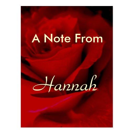 Hannah Postcard