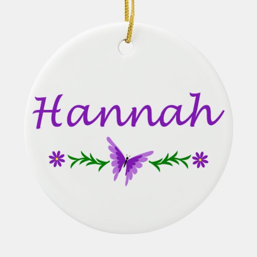 Hannah (Purple Butterfly) Double-Sided Ceramic Round Christmas Ornament
