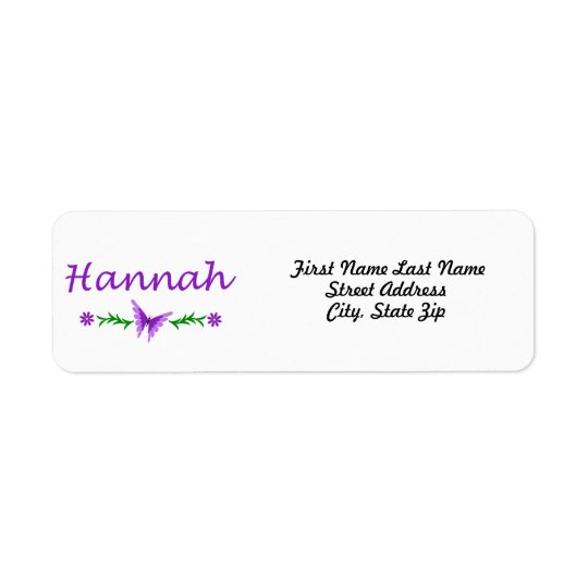 Hannah (Purple Butterfly) Label