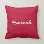 HANNAH Red and White Custom Name Gift Collection Pillow