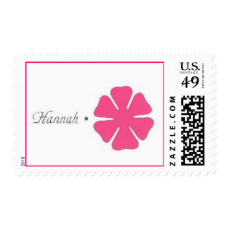 hannah with hot pink flower stamp