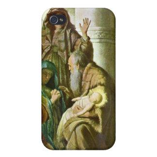 Hannah y Simeon en el templo de Rembrandt iPhone 4 Cárcasa