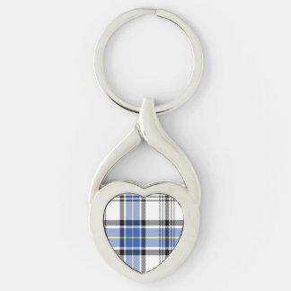 Hannay Scottish Tartan Silver-Colored Heart-Shaped Metal Keychain