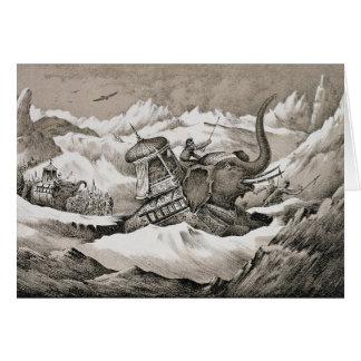 Hannibal (247-c.183 BC) and his war elephants cros Card