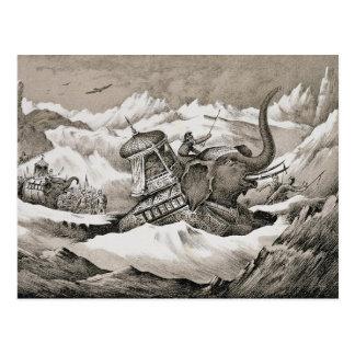 Hannibal (247-c.183 BC) and his war elephants cros Postcard