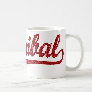 Hannibal script logo in red distressed coffee mug