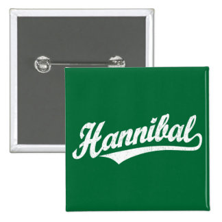 Hannibal script logo in white distressed button