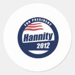 Hannity para el presidente 2012 pegatinas redondas