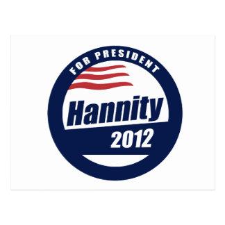Hannity para el presidente 2012 tarjetas postales