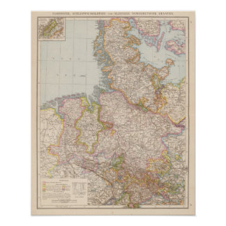 Hannover, SchleswigHolstein, North Germany Map Print