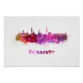 Hannover skyline in watercolor poster