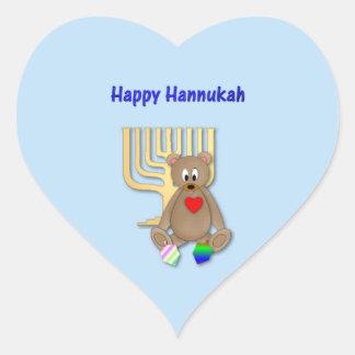 Hannukah feliz pegatina en forma de corazón