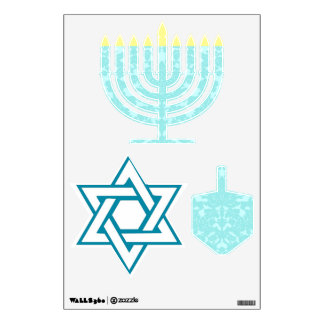 Hannukah menorah, dreidel and star wall sticker