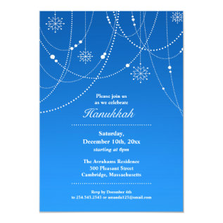 Hannukah Party Flat Invitation at Zazzle