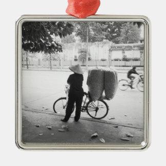 Hanoi Vietnam, Bicyle Delivery Woman (NR) Metal Ornament