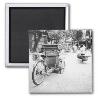 Hanoi Vietnam, Cyclo in Old Hanoi 2 Inch Square Magnet