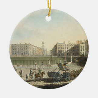 Hanover Square, engraved by Robert Pollard (1755-1 Double-Sided Ceramic Round Christmas Ornament