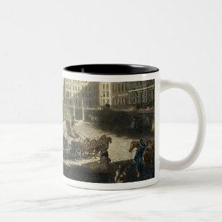 Hanover Square, engraved by Robert Pollard (1755-1 Two-Tone Coffee Mug