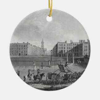 Hanover Square, from a set of four views of London Double-Sided Ceramic Round Christmas Ornament