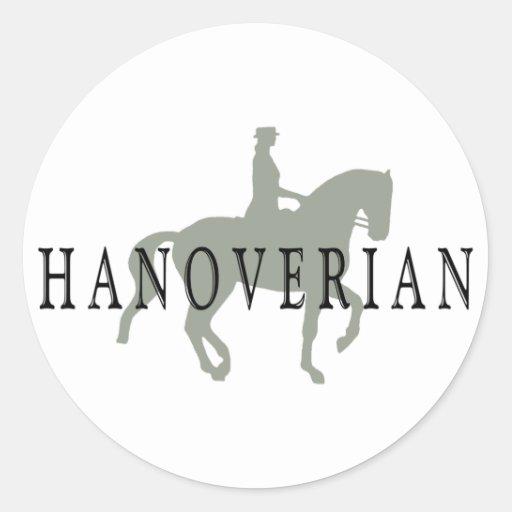 HANOVERIAN con el caballo y el jinete del Dressage Etiquetas Redondas