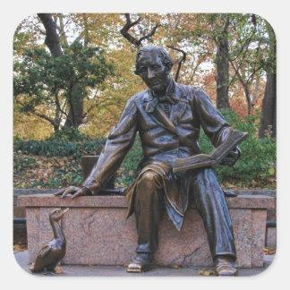 Hans Christian Andersen, Central Park, NYC Pegatina Cuadrada