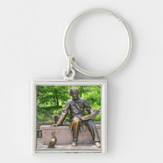 Hans Christian Andersen in Central park Silver-Colored Square Keychain