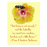 Hans Christian Anderson Butterfly Quote Postcard