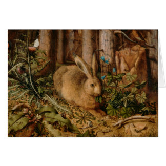 Hans Hoffmann A Hare In The Forest Greeting Card