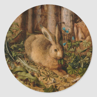Hans Hoffmann A Hare In The Forest Classic Round Sticker