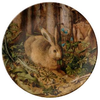 Hans Hoffmann una liebre en el bosque Plato De Cerámica