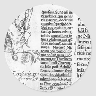 Hans Holbein - ejemplo marginal para Erasmus Pegatina Redonda