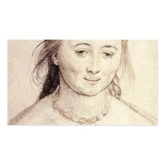 Hans Holbein la cabeza más joven de una mujer Tarjetas Personales