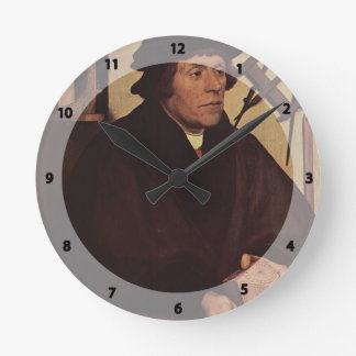 Hans Holbein - Portrait of Nicholas Kratzer Round Wall Clock