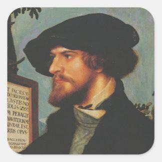 Hans Holbein - retrato de Bonifacio Amerbach Calcomania Cuadradas Personalizada