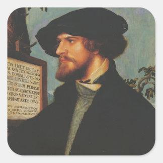 Hans Holbein - retrato de Bonifacio Amerbach Calcomanía Cuadrada Personalizada