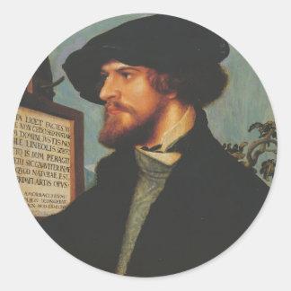 Hans Holbein - retrato de Bonifacio Amerbach Etiquetas Redondas