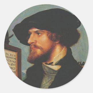 Hans Holbein - retrato de Bonifacio Amerbach Etiqueta Redonda
