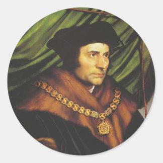 Hans Holbein - retrato de sir Thomas More Etiquetas Redondas