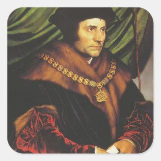 Hans Holbein - retrato de sir Thomas More Calcomanía Cuadradas