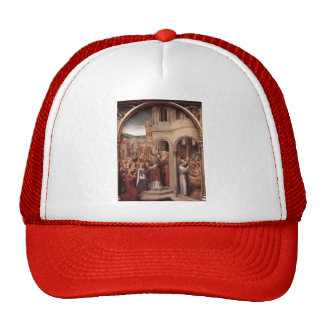 Hans Memling-Arrival of St. Ursula and companions Mesh Hats
