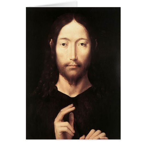 Hans Memling- Christ Giving His Blessing Greeting Cards