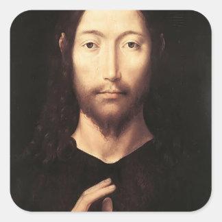 Hans Memling- Cristo que da su bendición Pegatina Cuadrada
