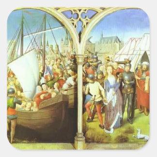 Hans Memling- el martirio de Santa Ursula Pegatina Cuadrada