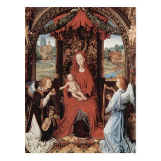 Hans Memling-Madonna,Child Enthroned with Angels Postcard