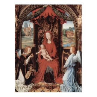 Hans Memling-Madonna, niño Enthroned con ángeles Tarjetas Postales